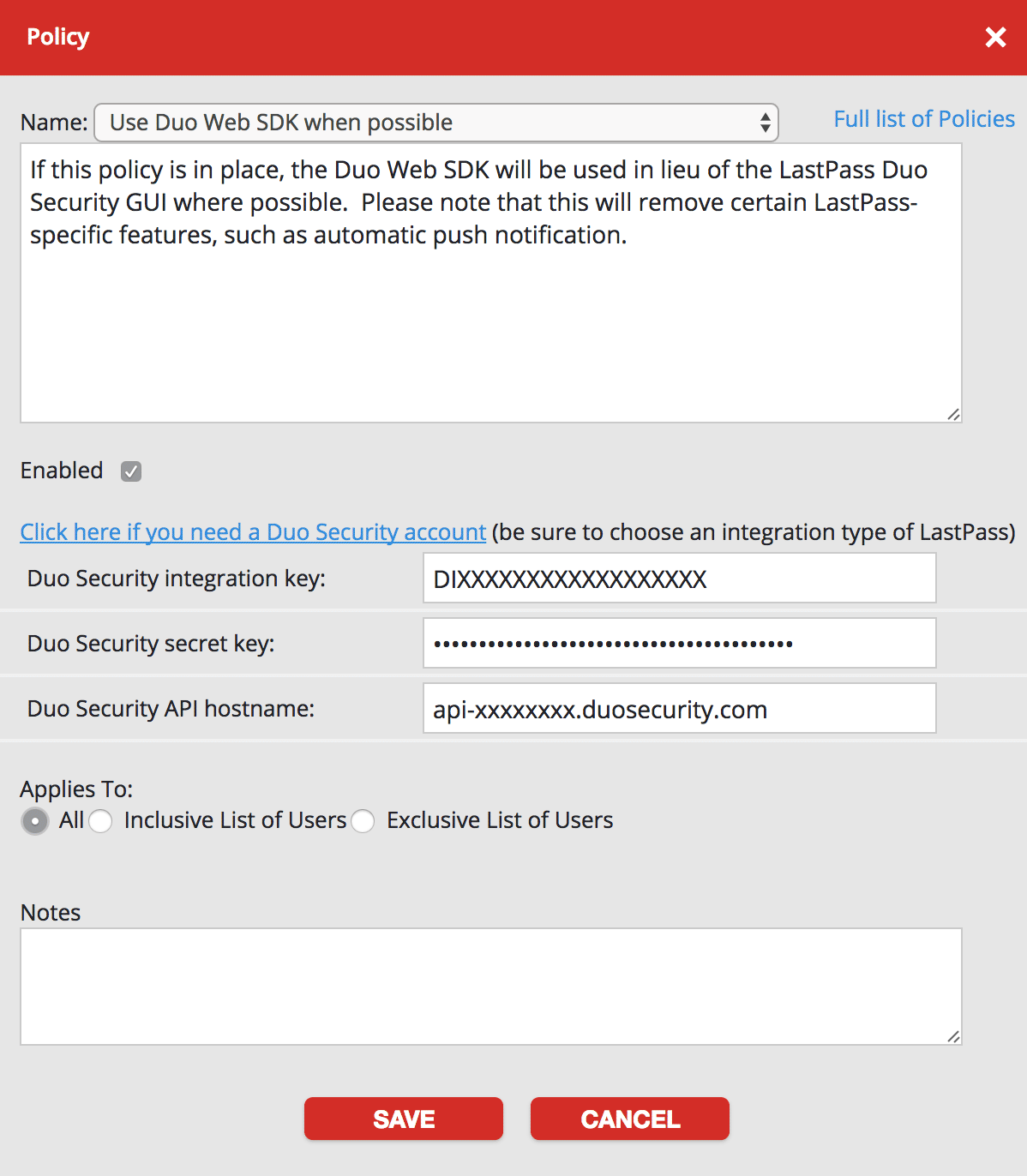 LastPass Duo Web SDK Policy