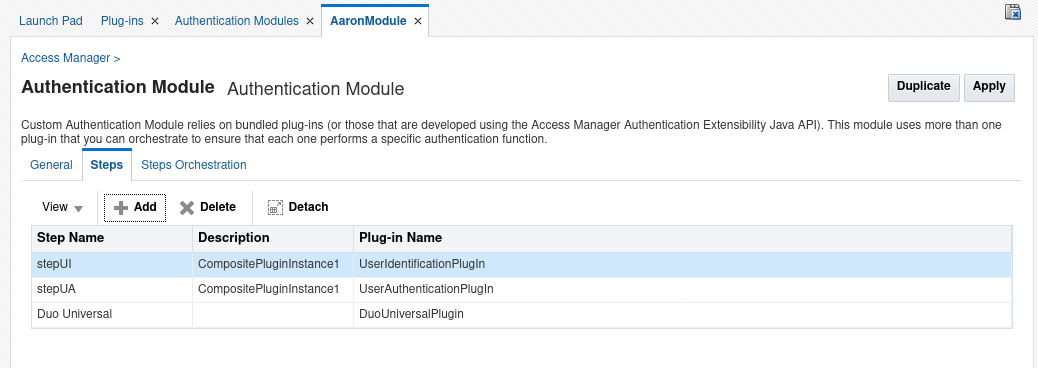 Create a new step in the authentication module