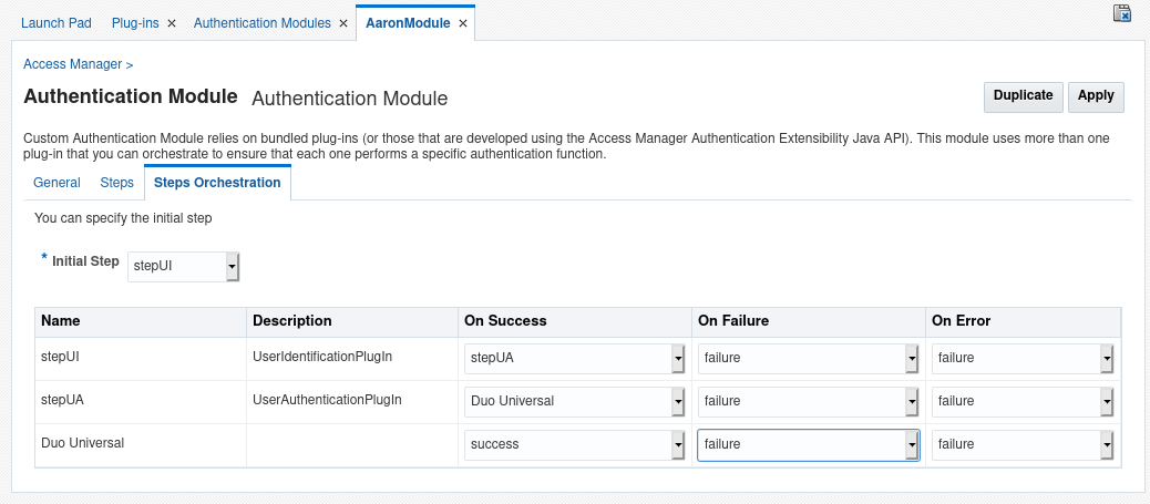 Configure the authentication module