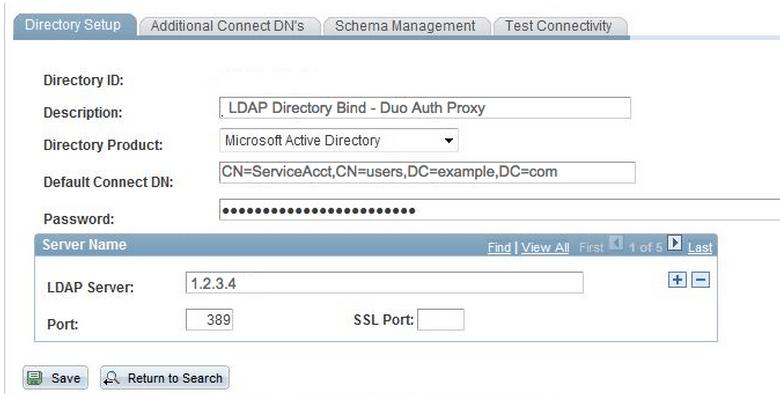 PeopleSoft LDAP Directory Setup