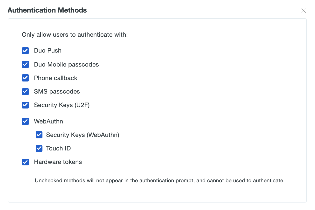 Authentication Methods Settings
