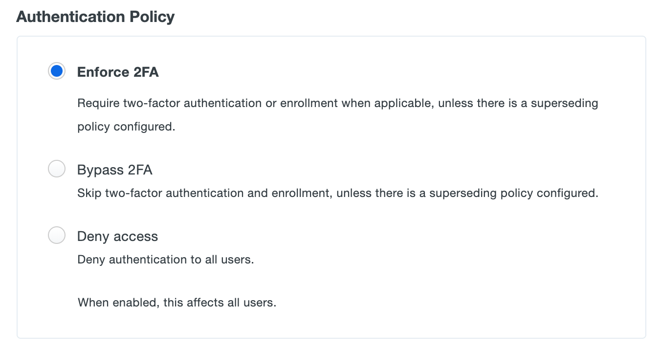 Authentication Policy Settings