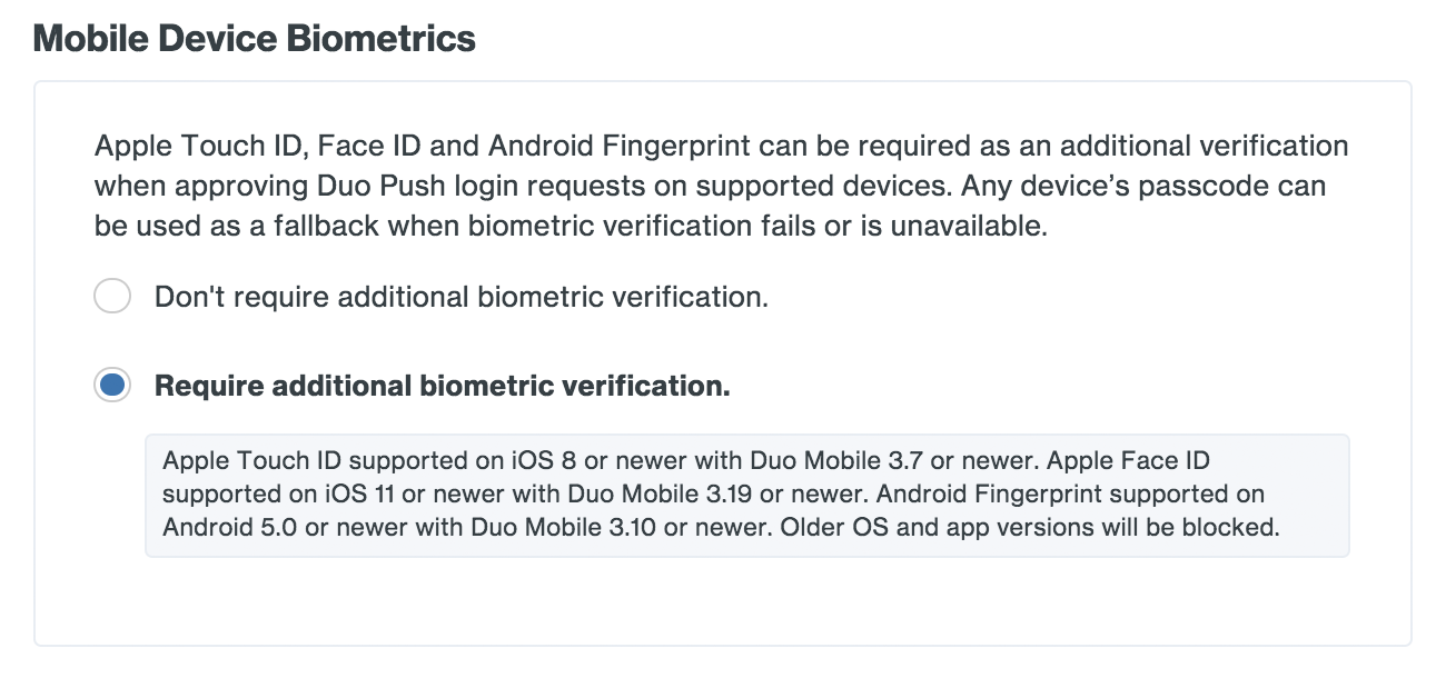 Mobile Biometric Settings
