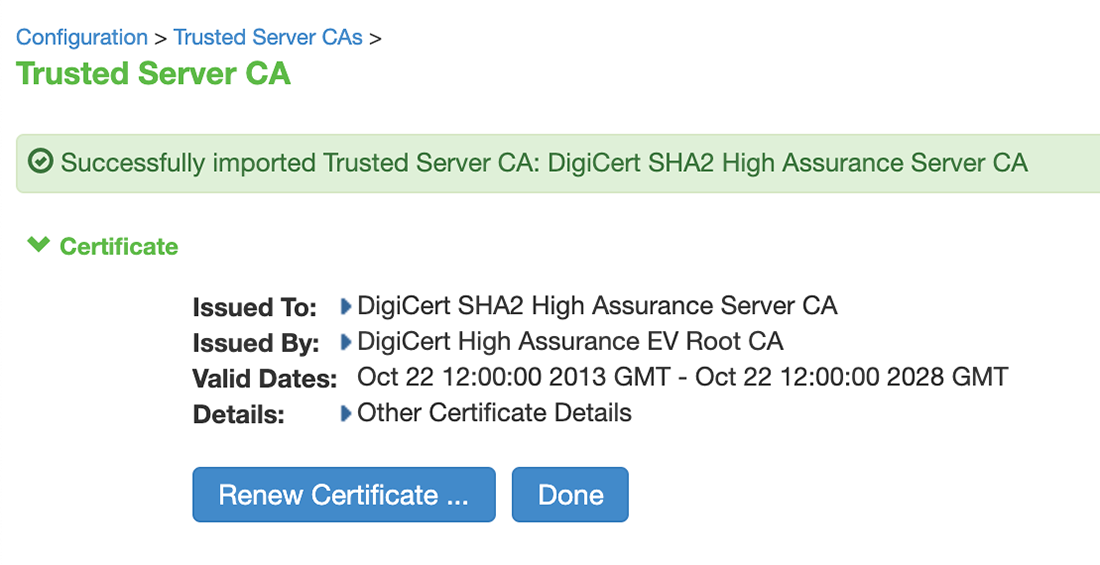 DigiCert CA Upload Success