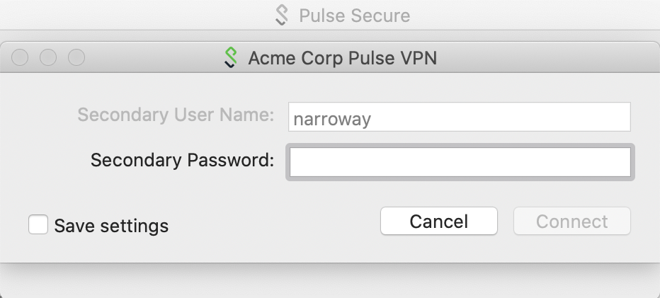 Pulse Client Secondary Authentication Prompt