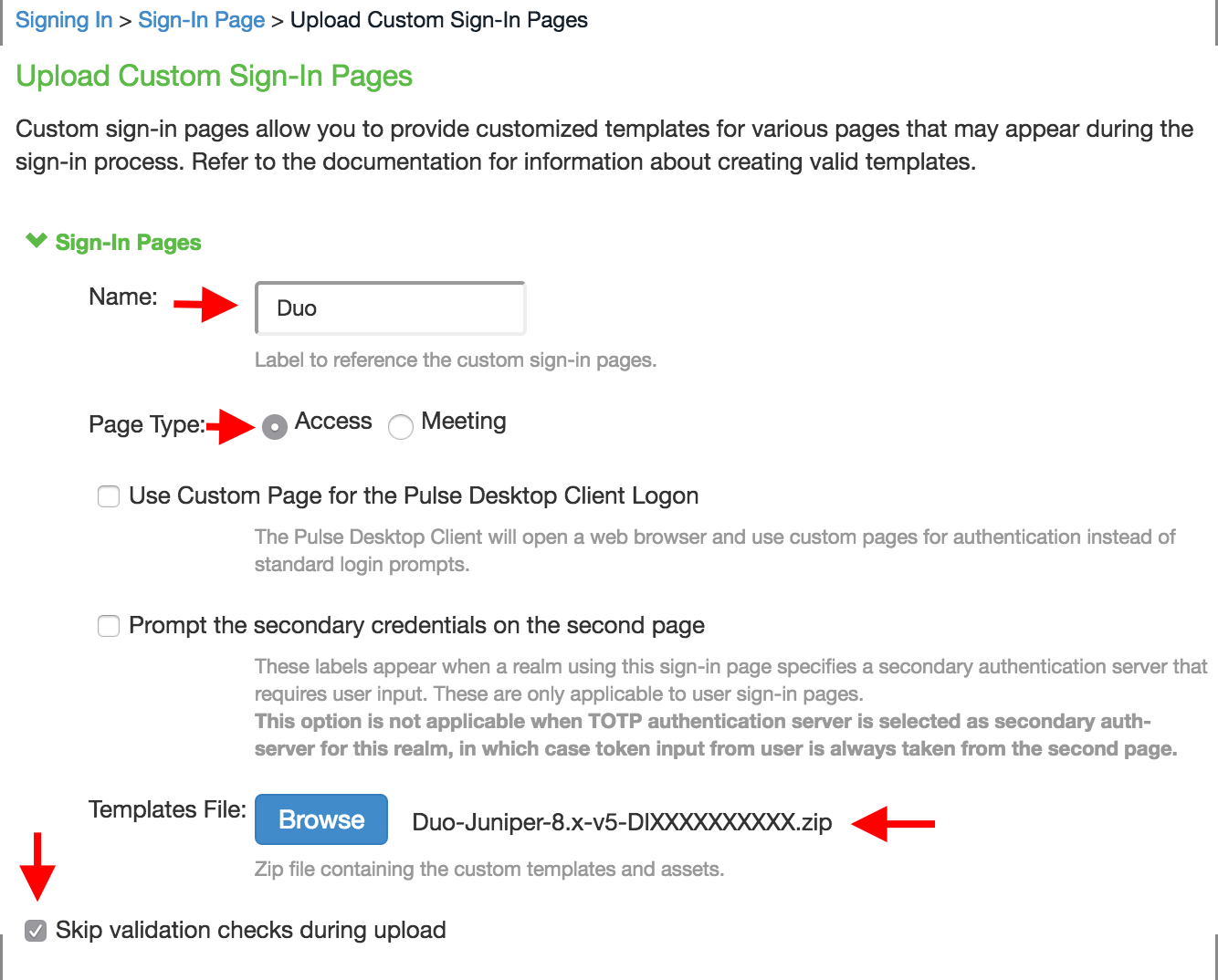 Upload Custom Pages