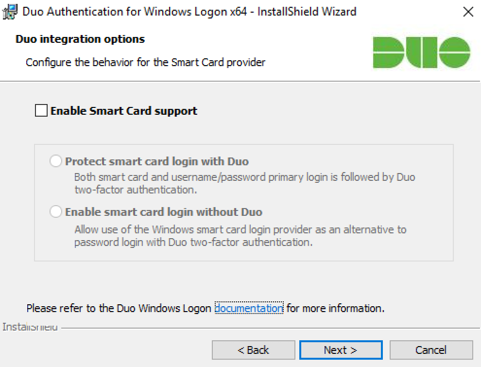Duo Application Smart Card Options