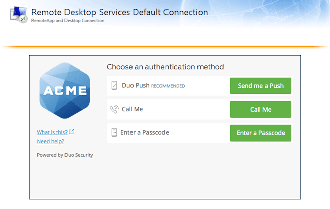 Duo Authentication for Microsoft Remote Desktop Web on Windows 2012