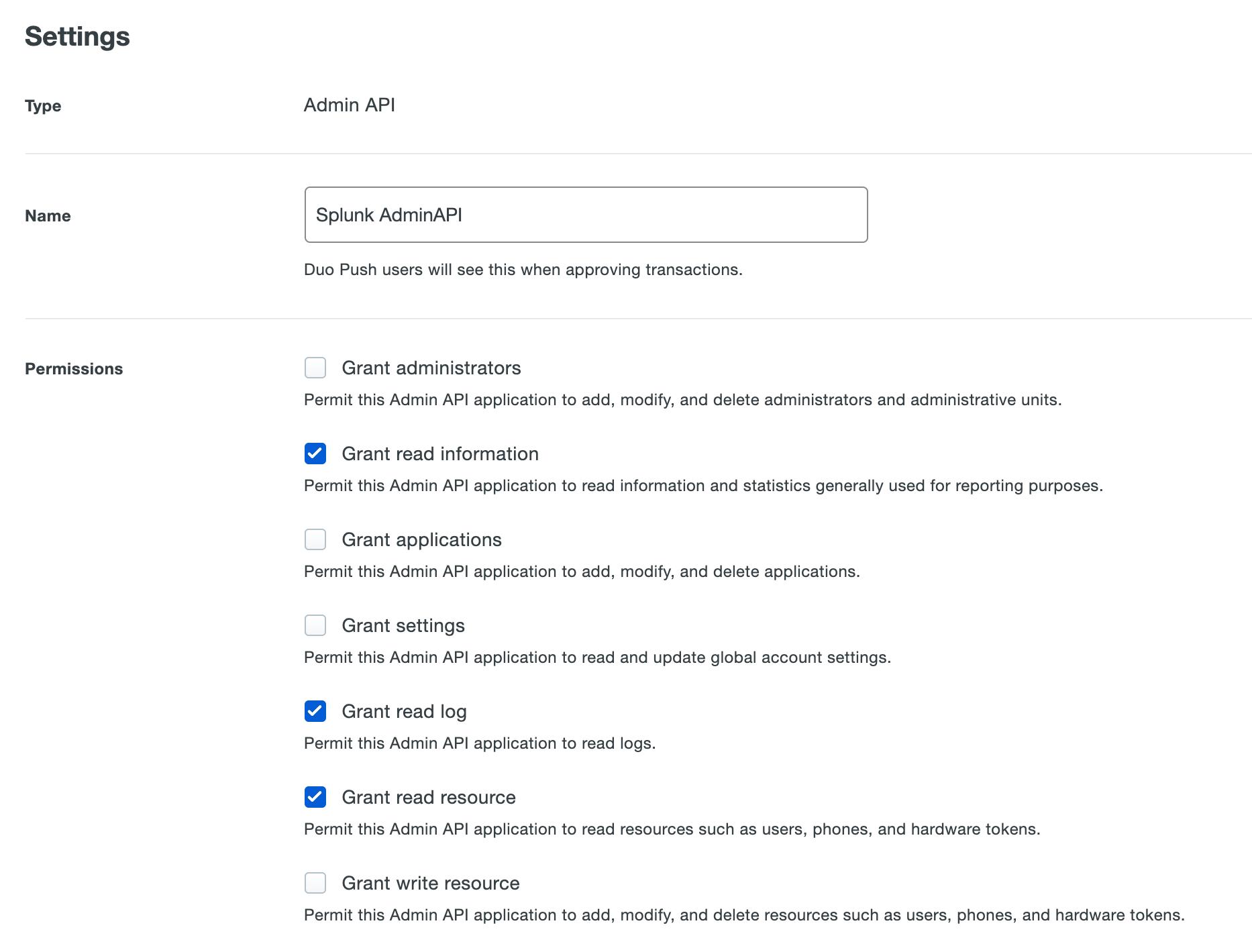 Admin API permissions for Splunk Connector