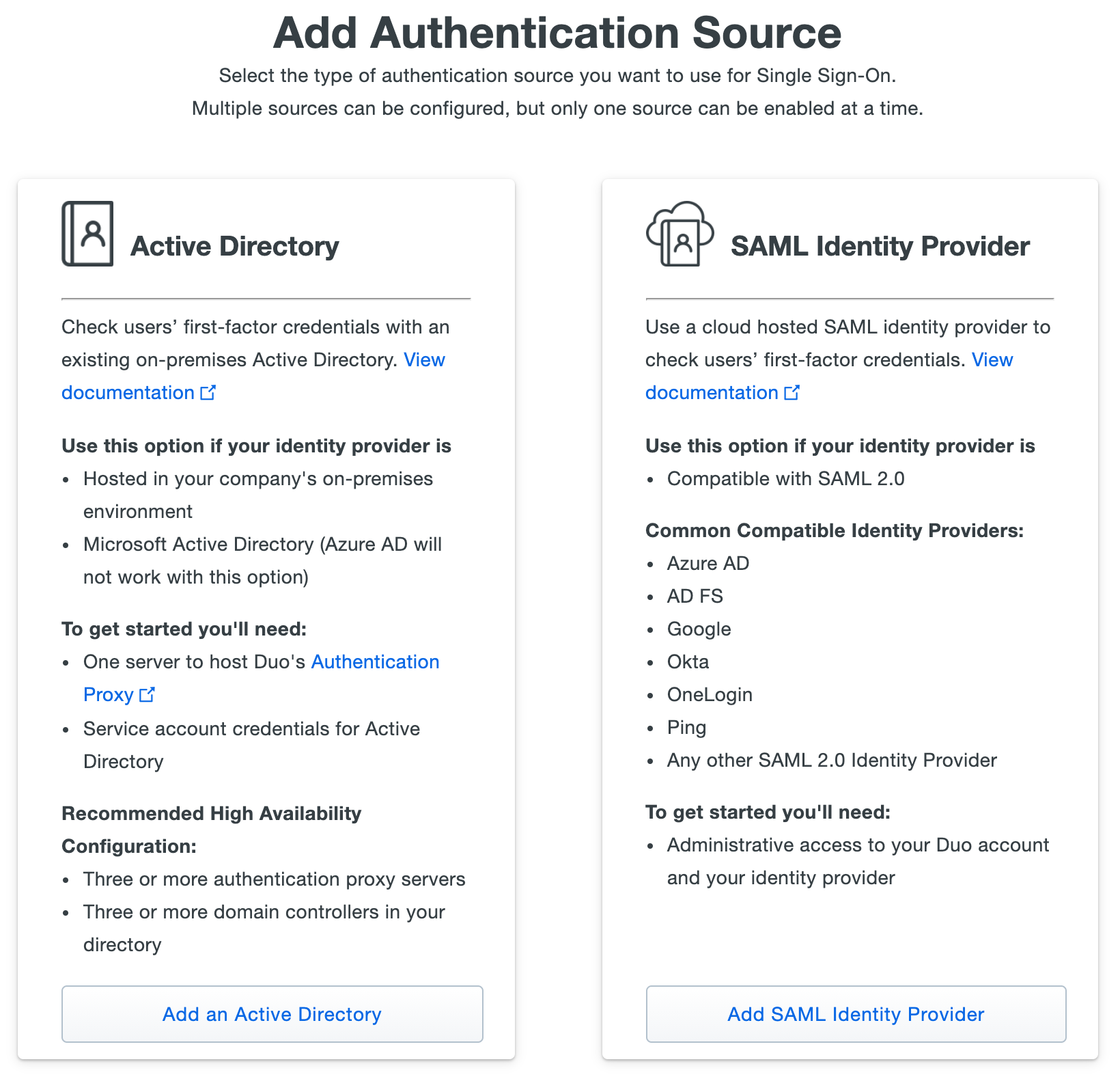 Choosing an authentication source