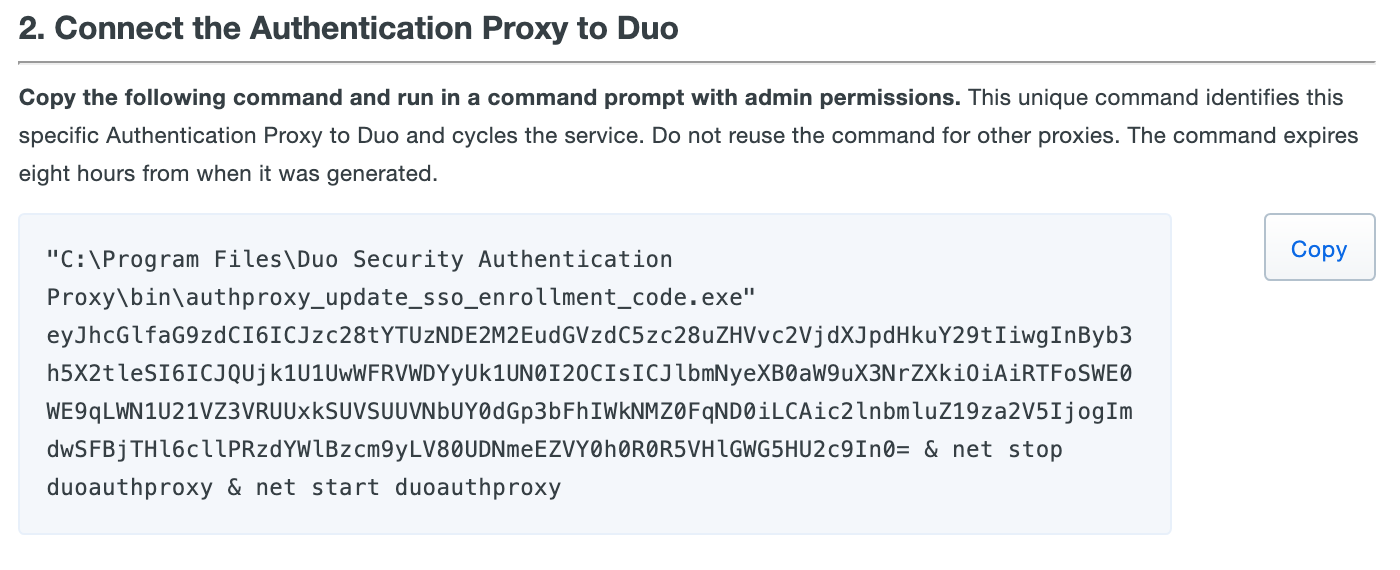 Authentication Proxy Enrollment Code