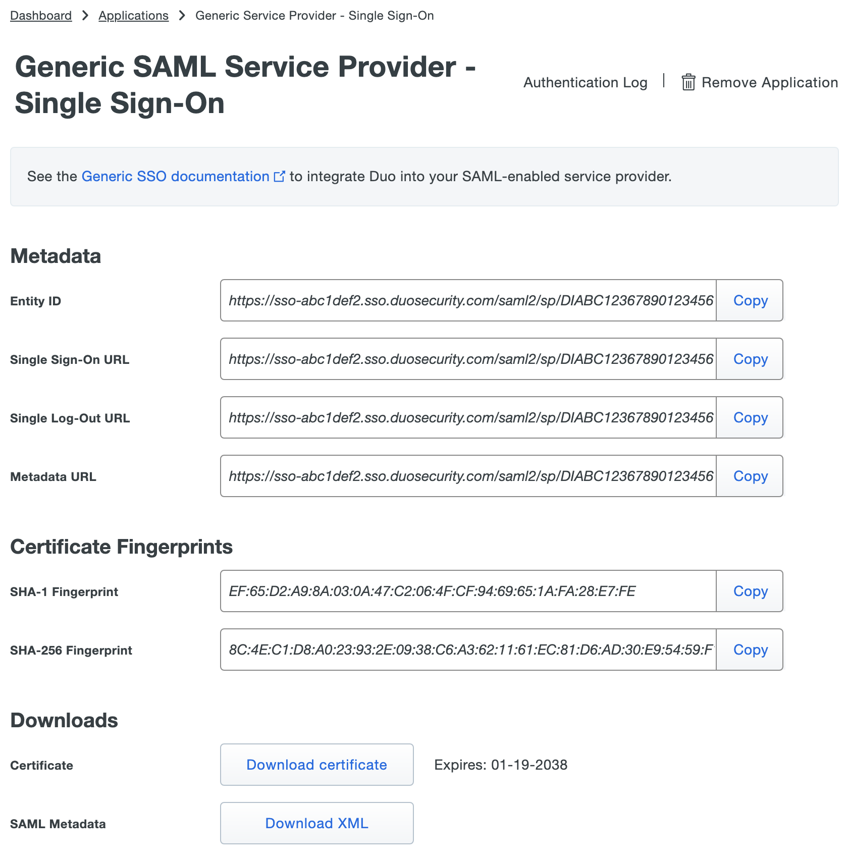 Metadata for configuring generic service providers