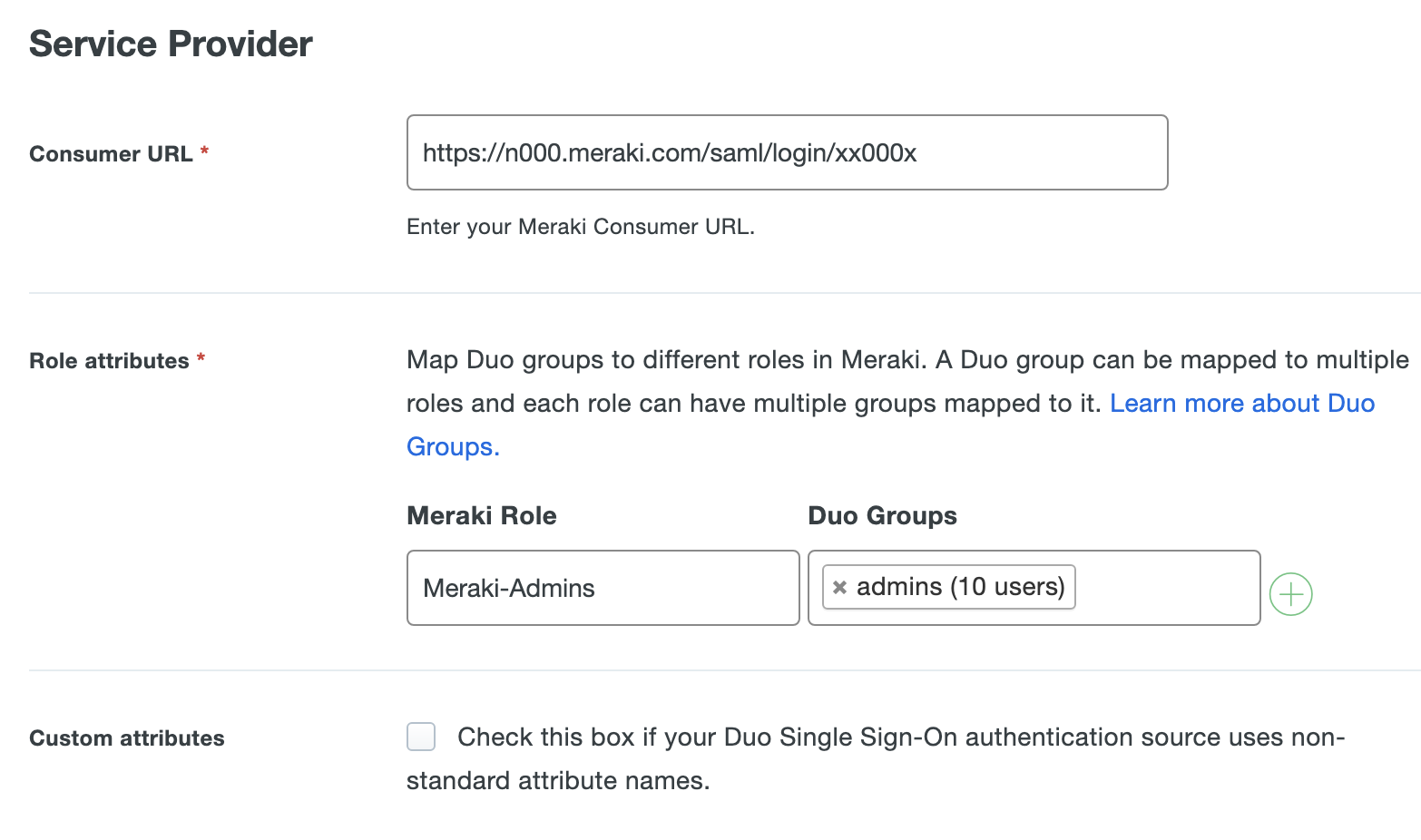 Duo Meraki Application Settings