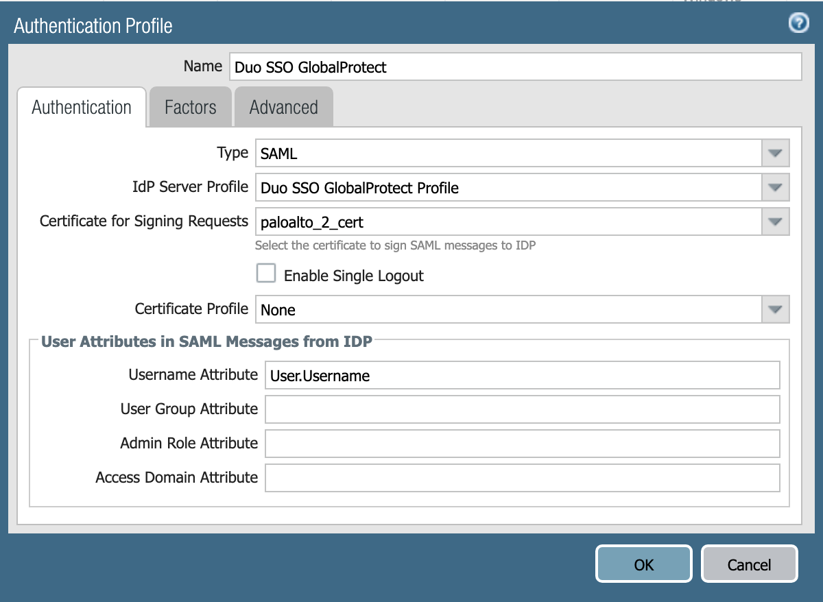 Add Palo Alto Networks Authentication Profile