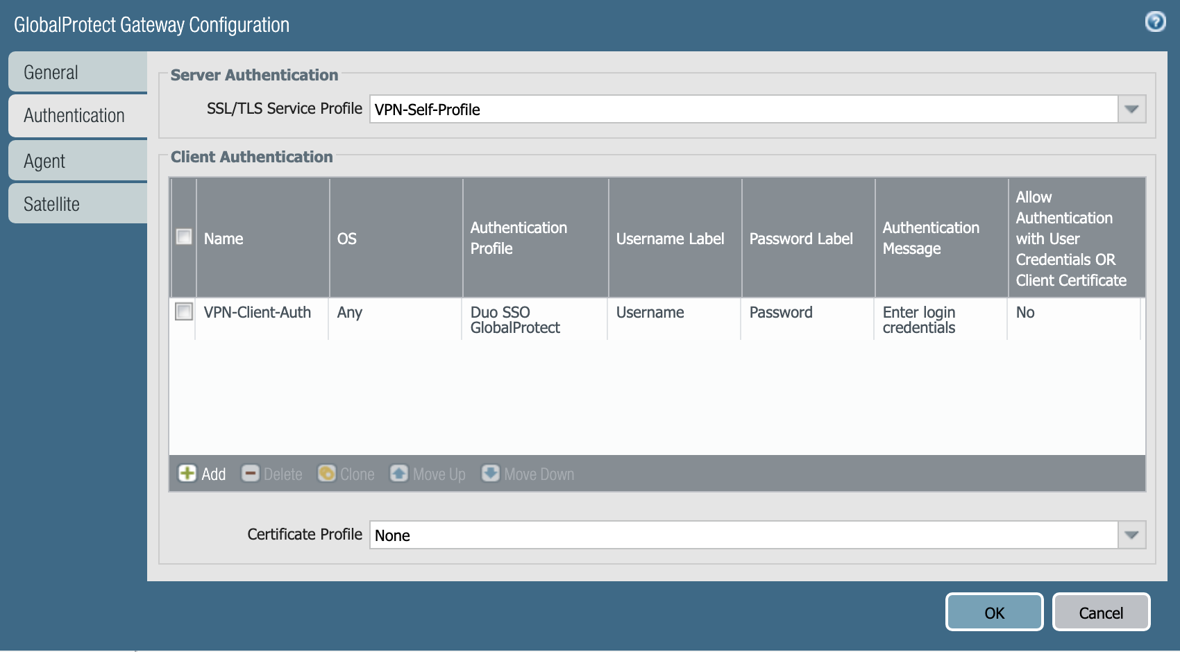 Palo Alto Networks Gateway Configuration
