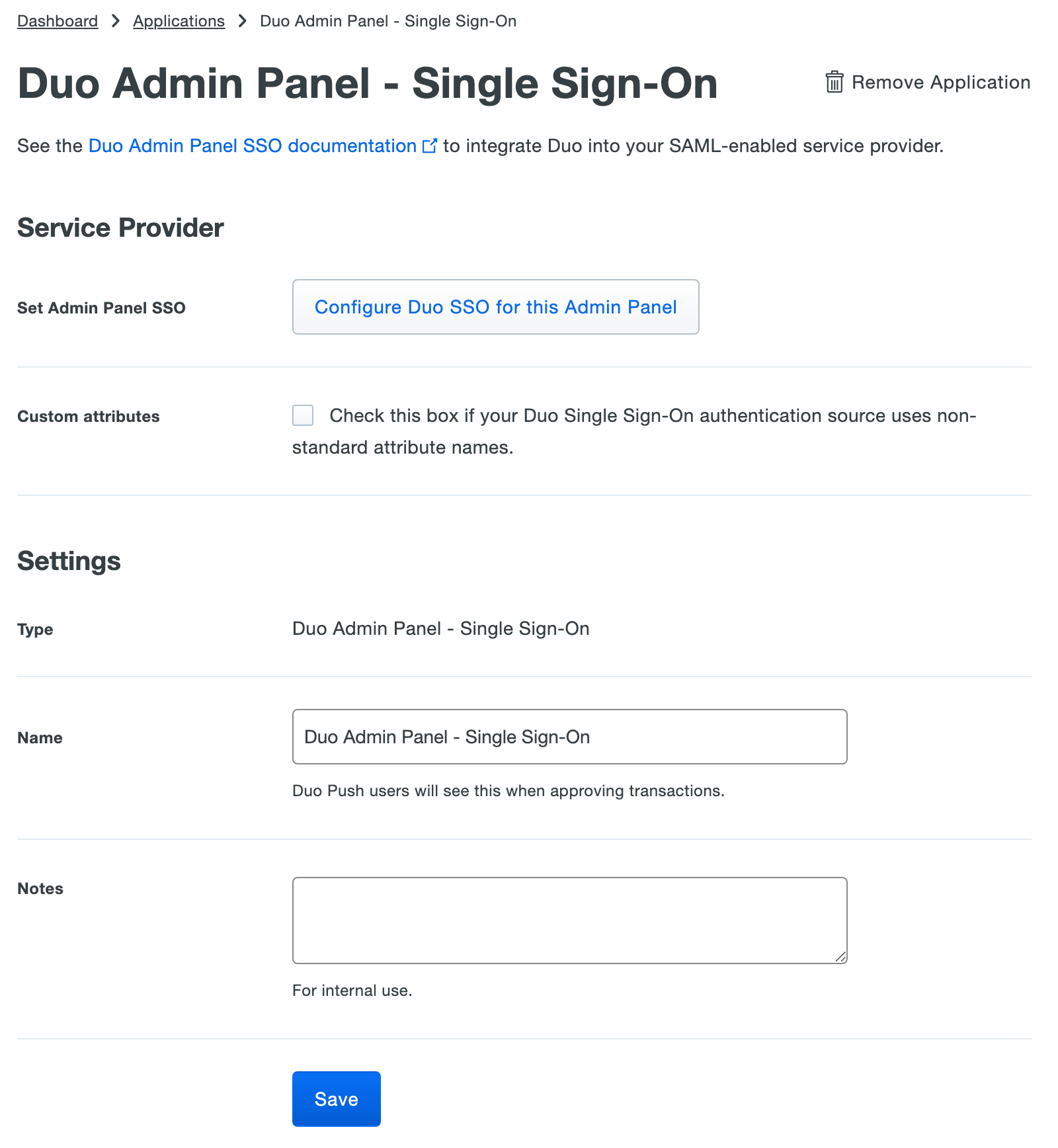 Duo Admin Panel SSO Application Settings