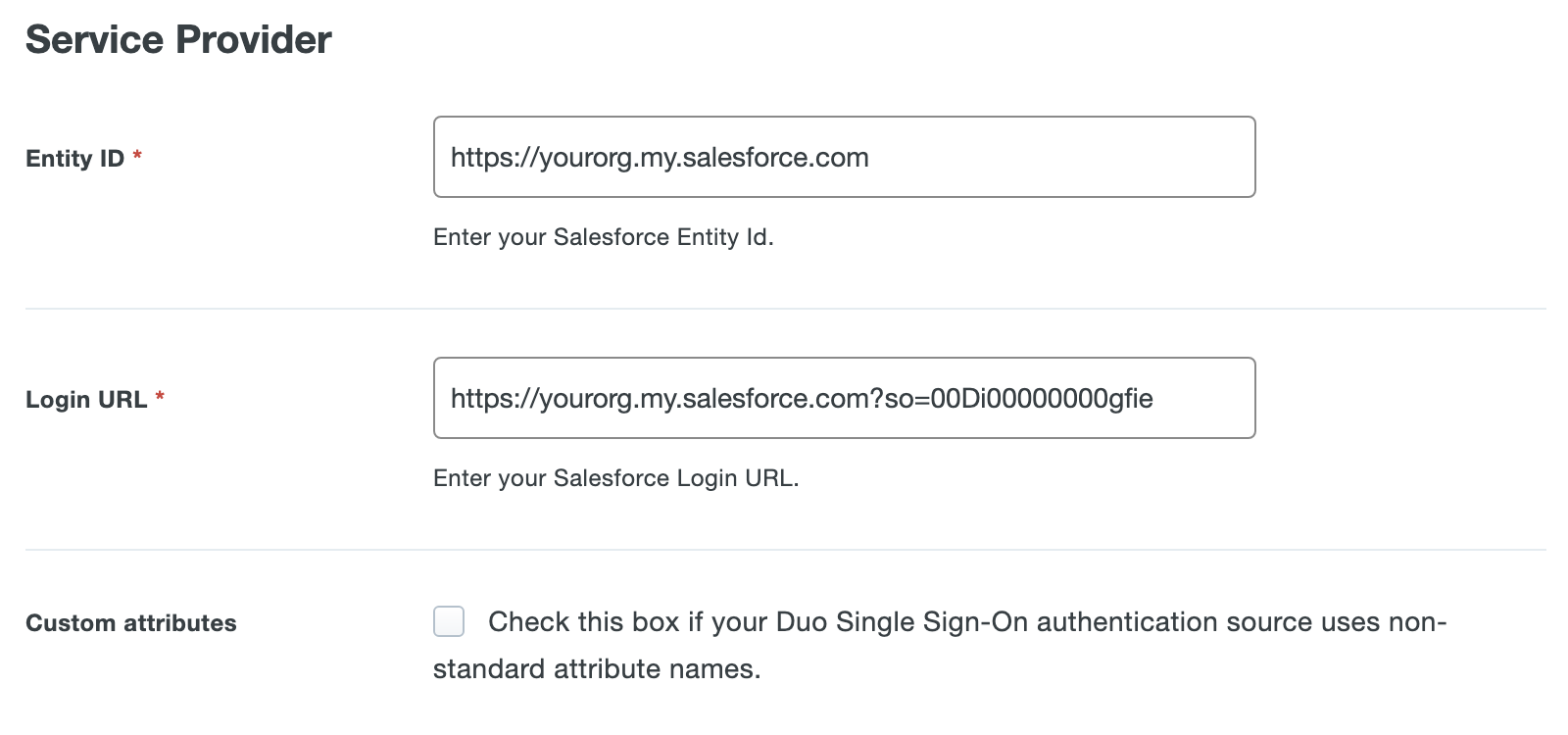Duo Salesforce Application Settings