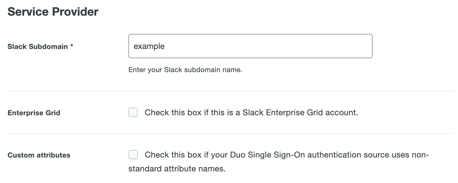 Duo Slack Application Settings