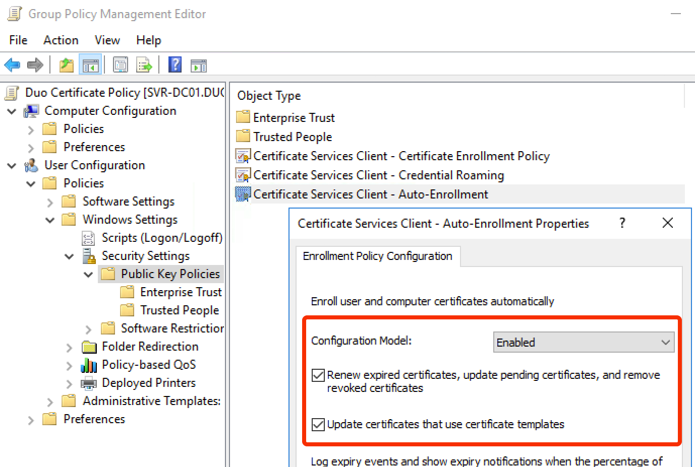Ad ds endpoint certificate deployment duo security auto enrollment group policy yadclub Gallery