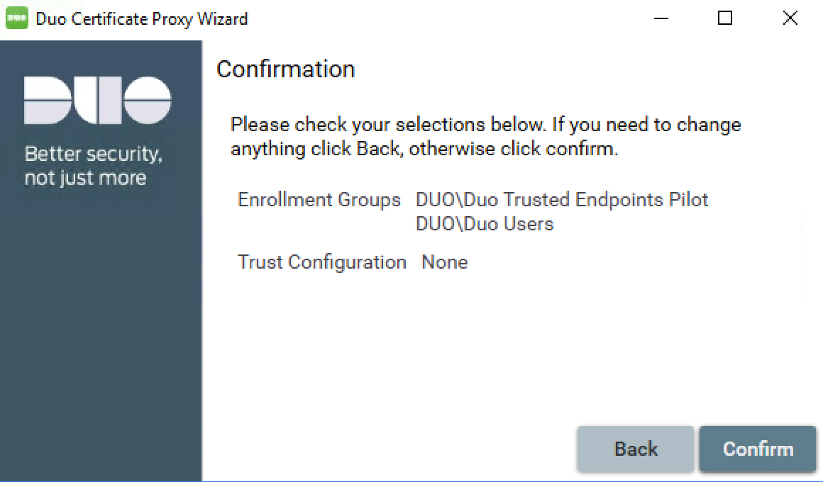 Duo Certificate Proxy Wizard - Select Groups