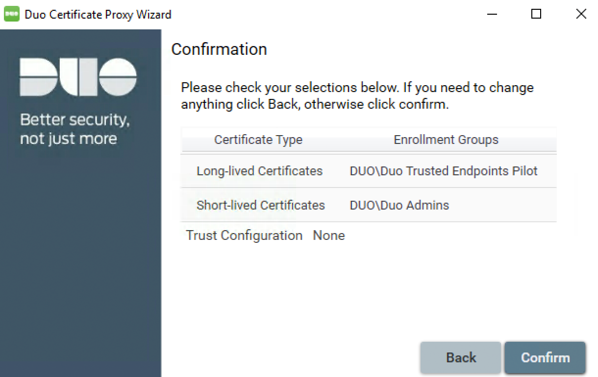 Duo Certificate Proxy Wizard - Confirmation