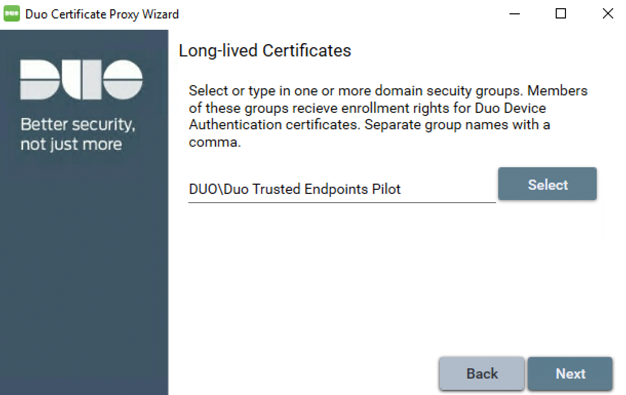 Duo Certificate Proxy Wizard - Select Long-lived Groups