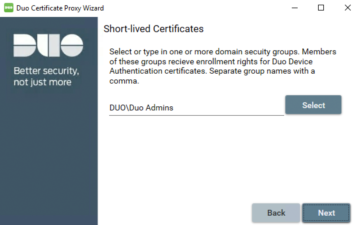 Duo Certificate Proxy Wizard - Select Short-lived Groups