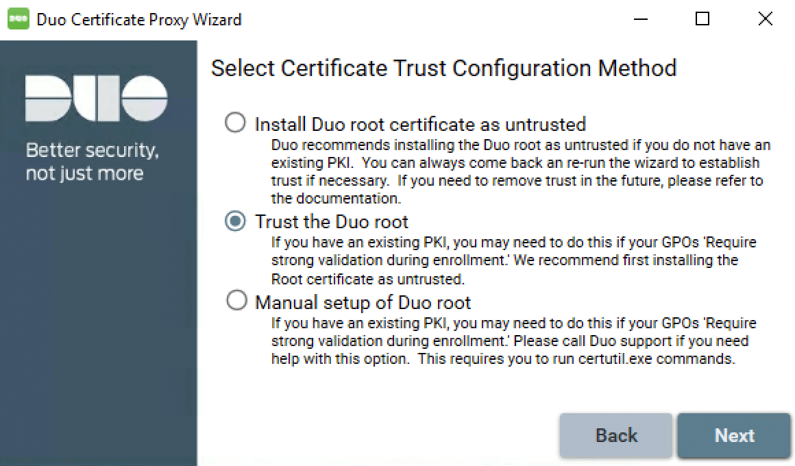 Ad ds endpoint certificate deployment duo security duo certificate proxy wizard trust config xflitez Images