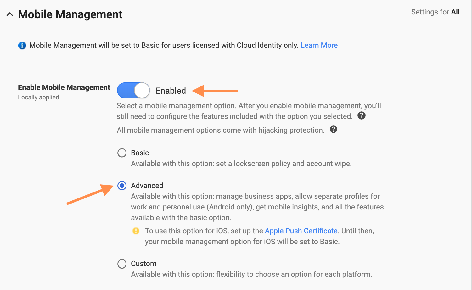 G Suite Mobile Management Settings