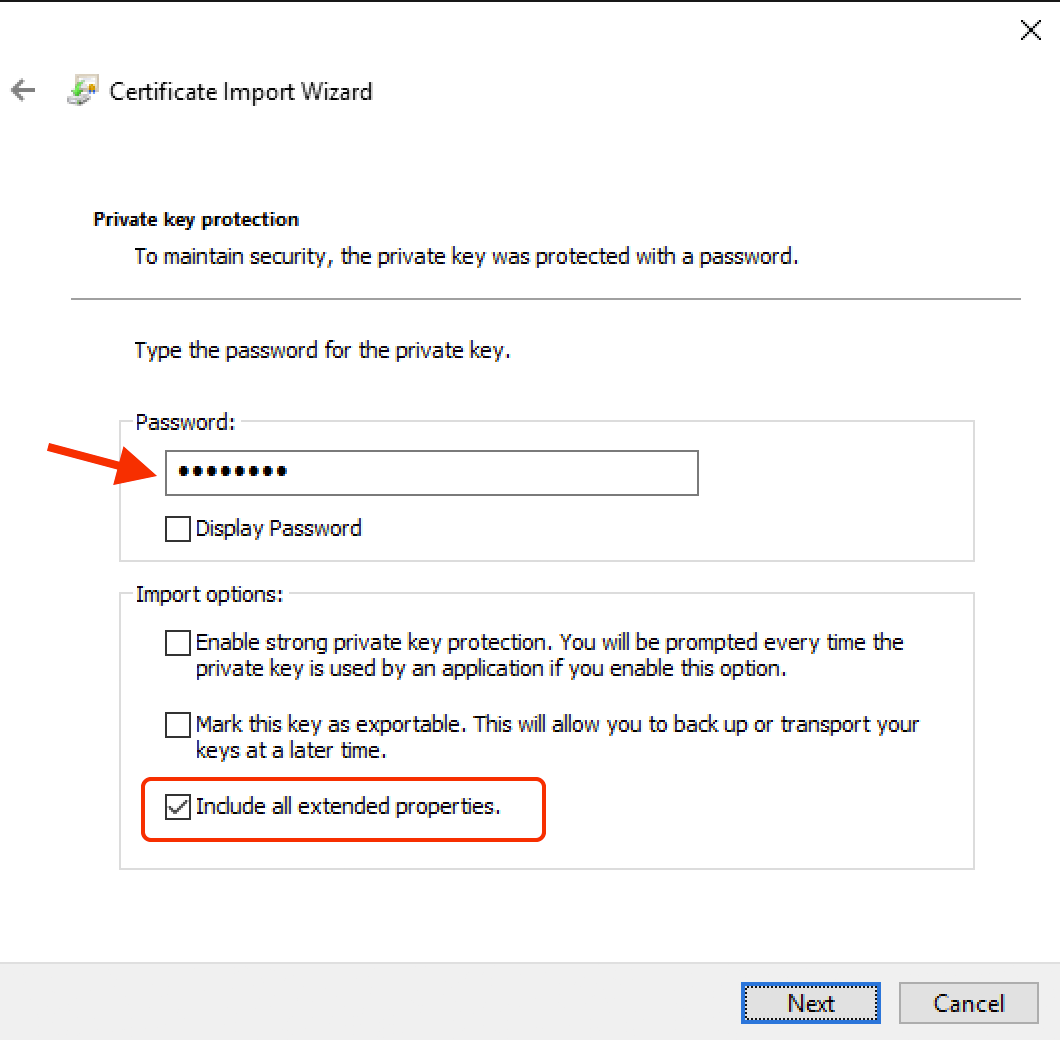 Windows Certificate Import Wizard - Step 3