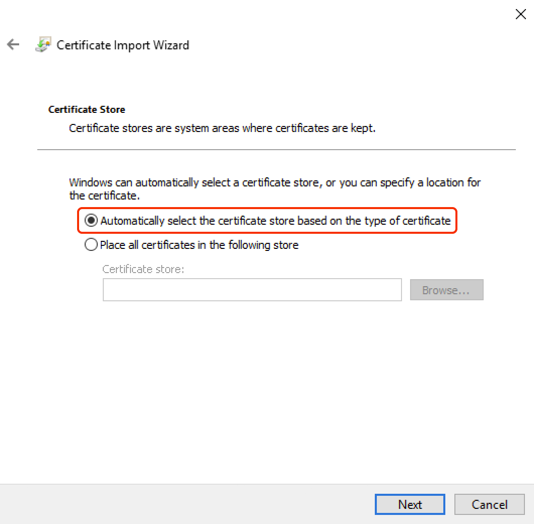 Windows Certificate Import Wizard - Step 4