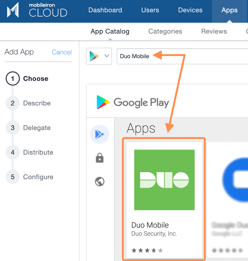 Locate Duo Mobile in Play Store