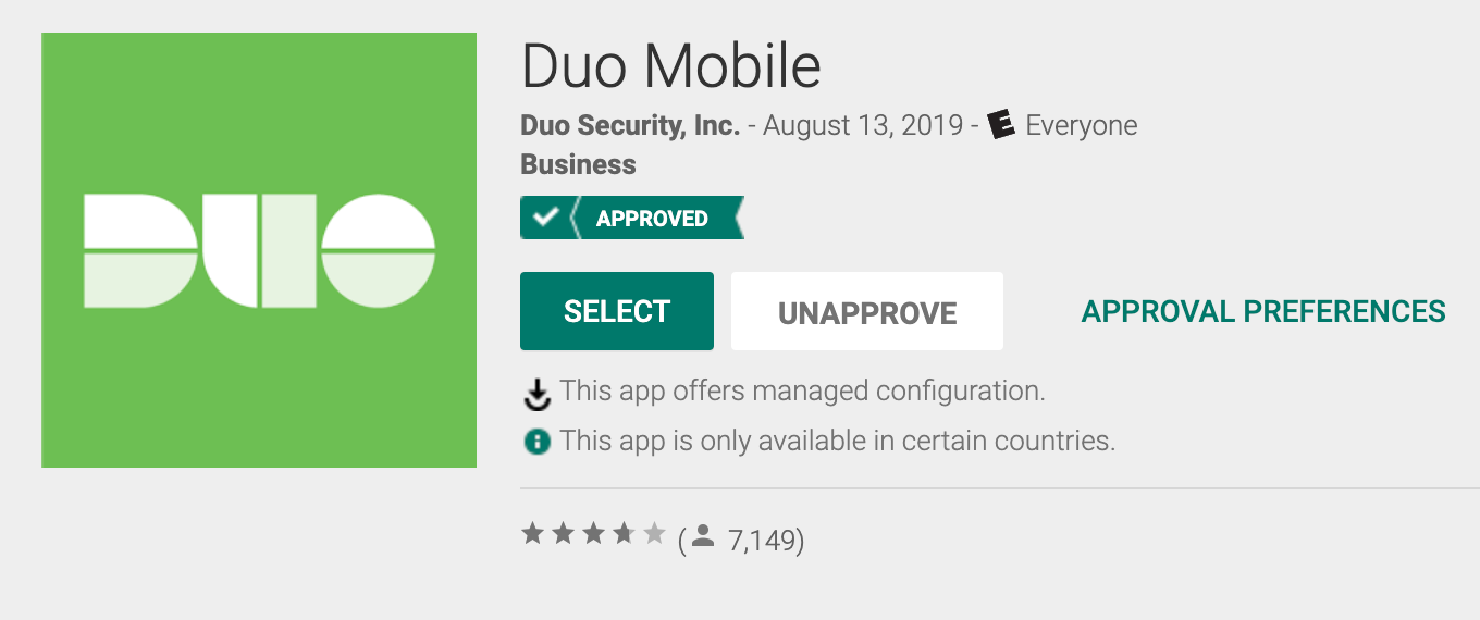 Duo Mobile Approved
