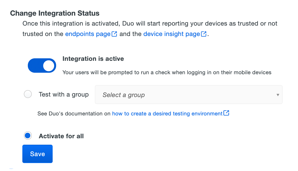 Enable Trusted Endpoints Management Integration
