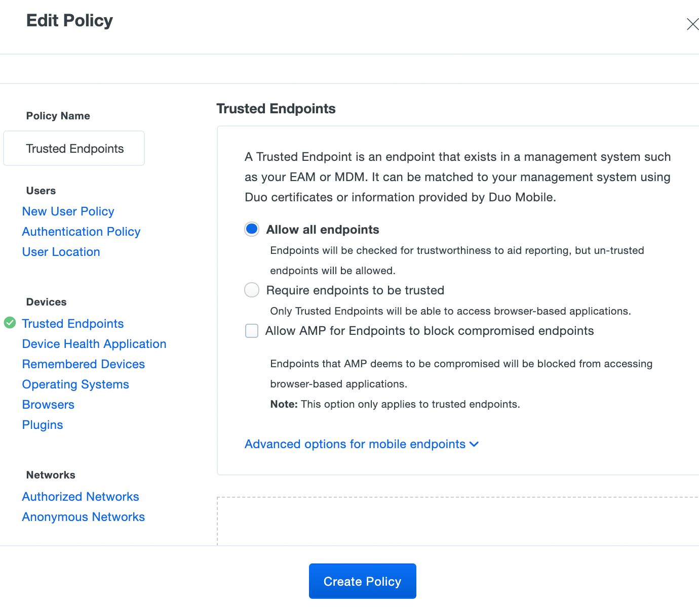 Creating the Trusted Endpoints Policy