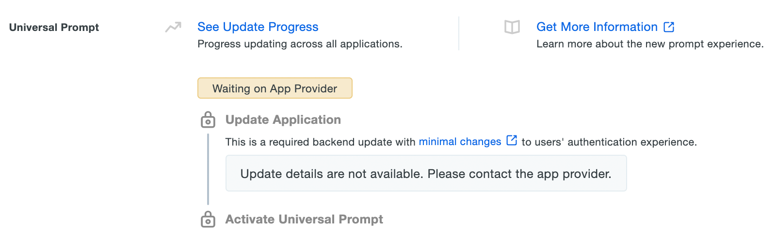 Universal Prompt Info - Update Not Yet Available
