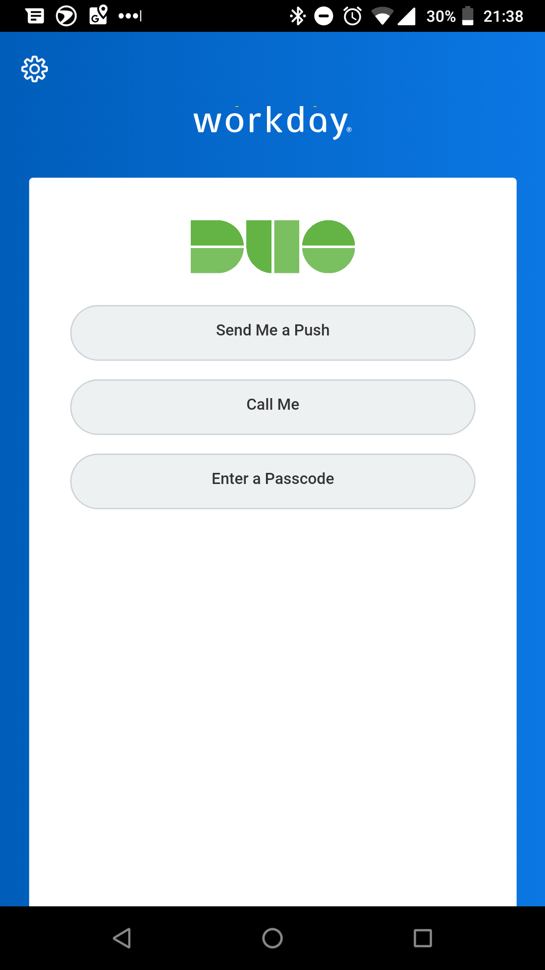 Duo Authentication in Workday Mobile App