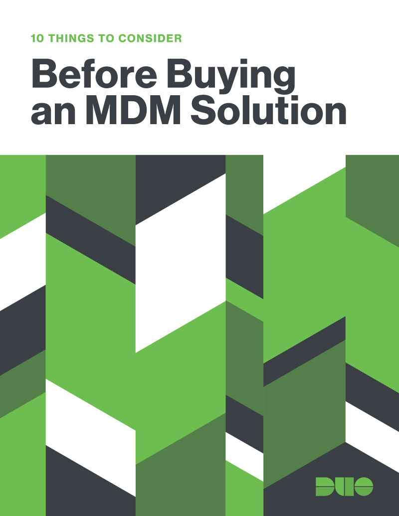 Cover of 10 Things to Consider Before Buying an MDM Solution eBook