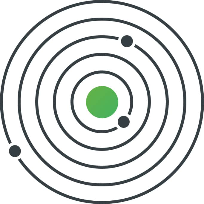 Geometric illustration of small circles orbiting a larger, green circle