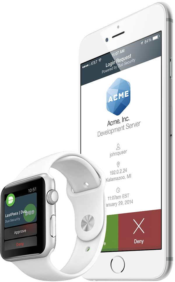 iphone and iwatch showing duo push authentication